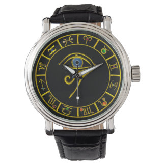 ASTRAL HORUS EYE/BLUE TALISMAN GOLD ZODIACAL SIGNS WATCH