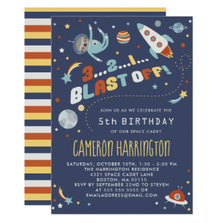 Astro Sloth - Space Kids Birthday Party Card