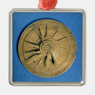 Astrolabe for calculating horoscopes, European Silver-Colored Square Decoration
