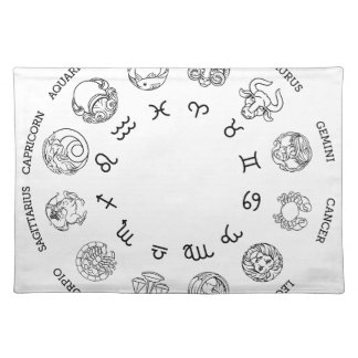 Astrological horoscope zodiac star signs symbols placemat