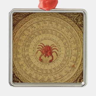 Astrological table of Cancer Silver-Colored Square Decoration