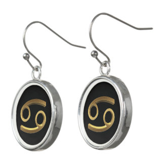 Astrological Zodiac Signs Sign Cancer Black Gold Earrings