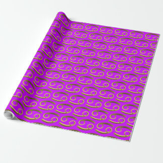 Astrological Zodiac Signs Sign Cancer Gold Violet Wrapping Paper