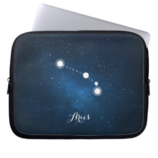 Astrology Blue Nebula Aries Zodiac Sign Laptop Sleeve