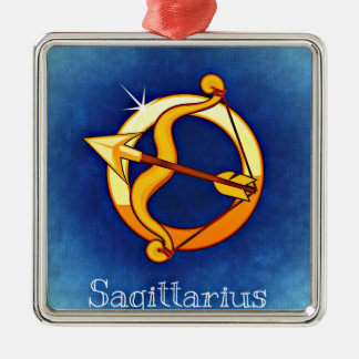 Astrology Sign Sagittarius Silver-Colored Square Decoration