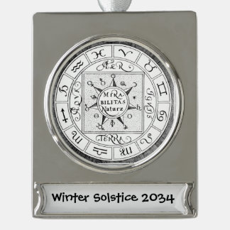 Astrology Sign Zodiac Symbols Personalized Silver Plated Banner Ornament