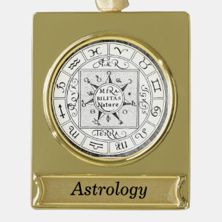 Astrology Signs of the Zodiac Personalized Gold Plated Banner Ornament