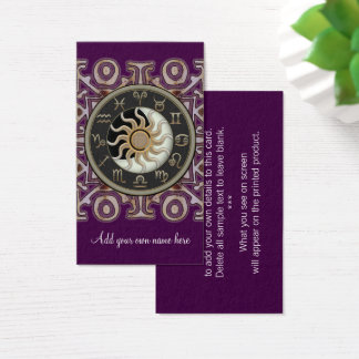 Astrology Sun and Moon Design Custom Business Card
