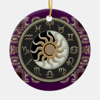 Astrology Sun and Moon Personalized Round Ceramic Decoration