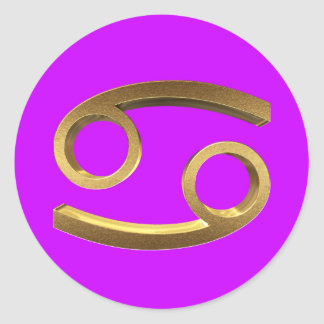 Astrology Zodiac Sign Cancer Gold Look Symbol Eleg Classic Round Sticker