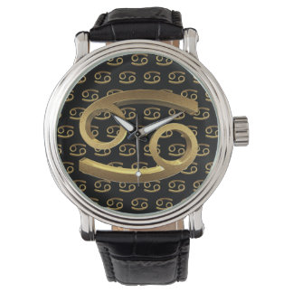 Astrology Zodiac Sign Cancer Gold Symbol Elegant Watch
