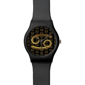 Astrology Zodiac Sign Cancer  Symbol Black Gold Watch