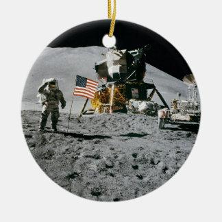 Astronaut and American Flag Apollo Moon Mission Ceramic Ornament
