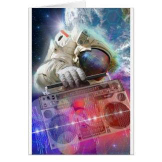 Astronaut Boombox Greeting Card
