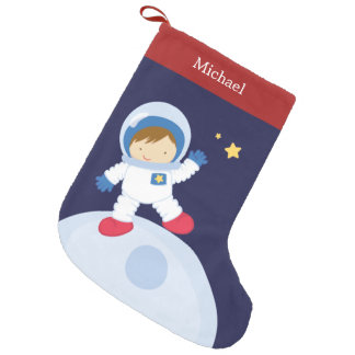Astronaut Boy Kid's Personalized Small Christmas Stocking