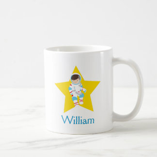 Astronaut Boy Yellow Star Brown Hair Mug