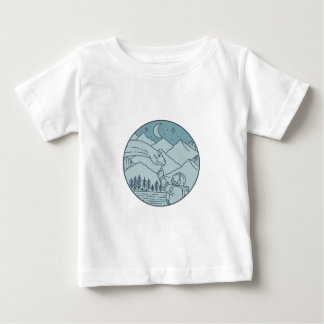 Astronaut Brontosaurus Moon Stars Mountains Circle Baby T-Shirt