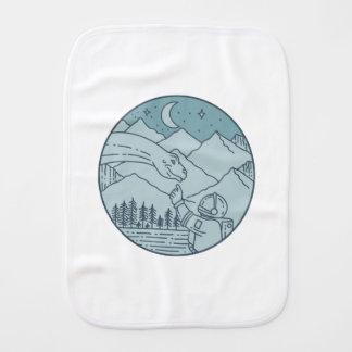 Astronaut Brontosaurus Moon Stars Mountains Circle Burp Cloth