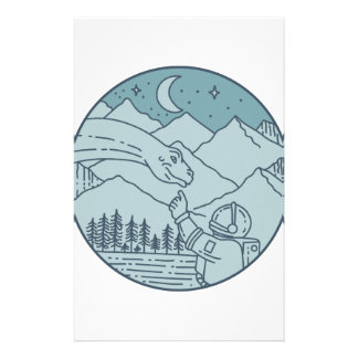 Astronaut Brontosaurus Moon Stars Mountains Circle Custom Stationery