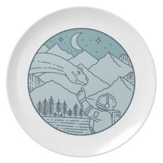 Astronaut Brontosaurus Moon Stars Mountains Circle Dinner Plate