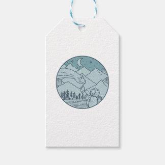 Astronaut Brontosaurus Moon Stars Mountains Circle Gift Tags