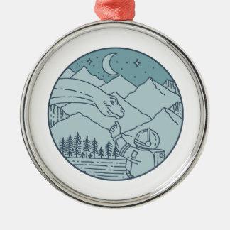 Astronaut Brontosaurus Moon Stars Mountains Circle Metal Ornament