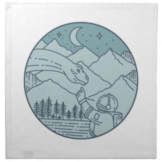Astronaut Brontosaurus Moon Stars Mountains Circle Napkin