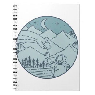 Astronaut Brontosaurus Moon Stars Mountains Circle Notebook