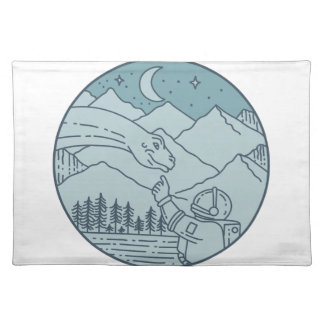 Astronaut Brontosaurus Moon Stars Mountains Circle Placemat