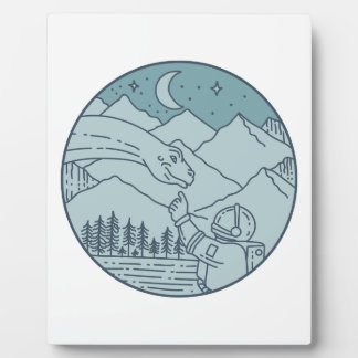 Astronaut Brontosaurus Moon Stars Mountains Circle Plaque
