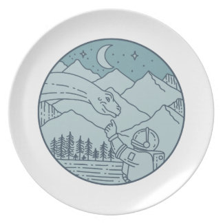 Astronaut Brontosaurus Moon Stars Mountains Circle Plate