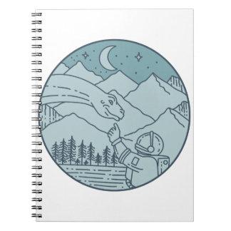 Astronaut Brontosaurus Moon Stars Mountains Circle Spiral Notebook