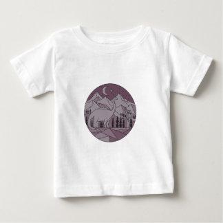 Astronaut Brontosaurus Mountain Moon Circle Mono L Baby T-Shirt