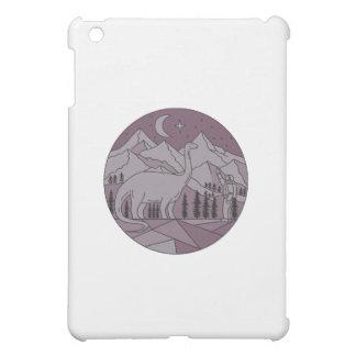 Astronaut Brontosaurus Mountain Moon Circle Mono L iPad Mini Cases