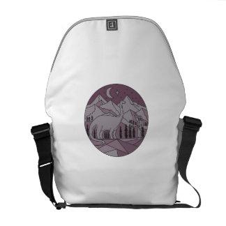 Astronaut Brontosaurus Mountain Moon Circle Mono L Messenger Bag