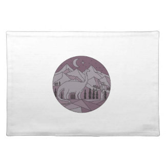 Astronaut Brontosaurus Mountain Moon Circle Mono L Placemat