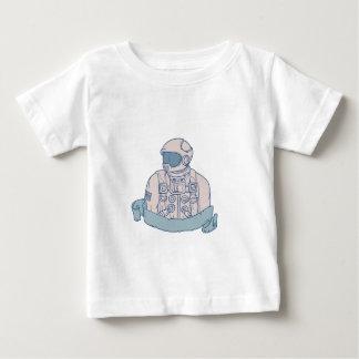 Astronaut Bust Ribbon Drawing Baby T-Shirt