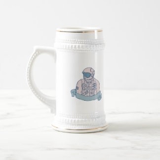 Astronaut Bust Ribbon Drawing Beer Stein
