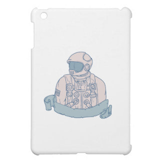 Astronaut Bust Ribbon Drawing iPad Mini Cases