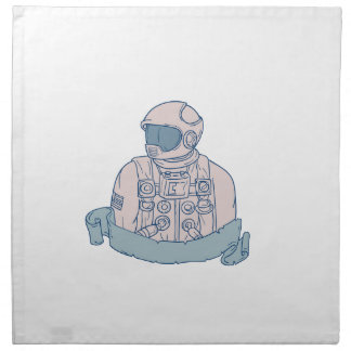 Astronaut Bust Ribbon Drawing Napkin