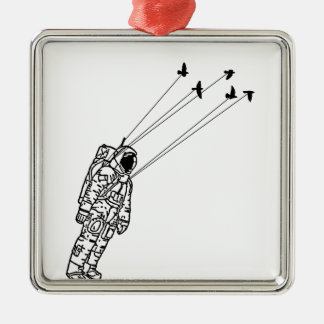 Astronaut Carried Away by Birds Silver-Colored Square Decoration