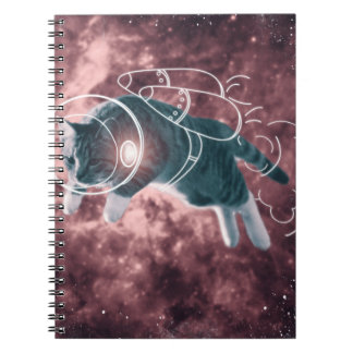 Astronaut Cat Kitten Funny Cosmos Spiral Note Books