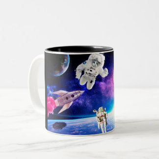 Astronaut Cats In Space Pursued Their Dream 1 Two-Tone Coffee Mug