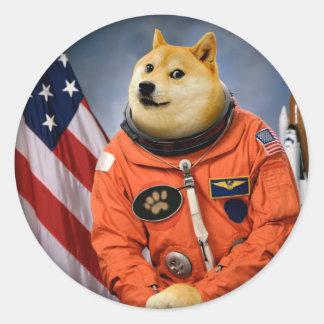 astronaut dog  - doge - shibe - doge memes classic round sticker