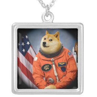 astronaut dog  - doge - shibe - doge memes silver plated necklace