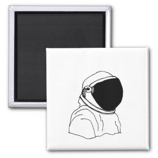 Astronaut drawing black and white magnet