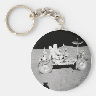 Astronaut driving Lunar Lander on the Moon Key Ring