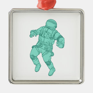 Astronaut Floating in Space Drawing Metal Ornament