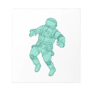 Astronaut Floating in Space Drawing Notepad