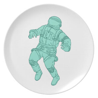 Astronaut Floating in Space Drawing Plate